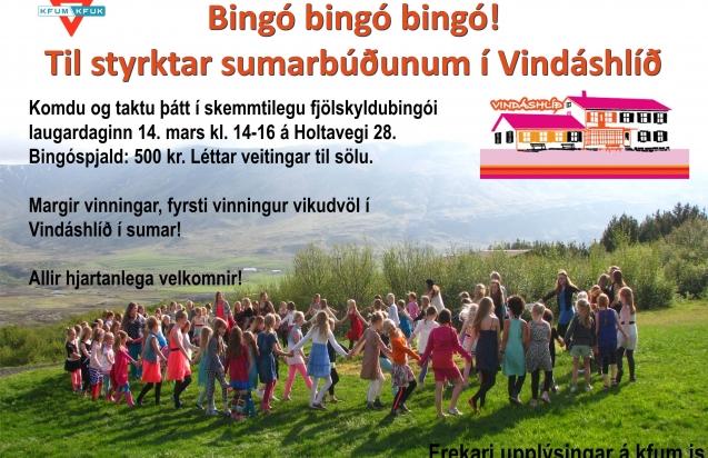 Fjölskyldubingó Vindáshlíðar 14. mars